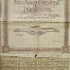 """Actiune """" SOC.ANON.ROMANA DE FINANCIARE"""" -500 LEI."""