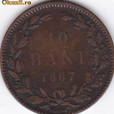 10 BANI 1867(HEATON)    4A