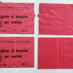LOT 2 BILETE TRANSPORT NAVAL ? ITALIA 1973 **