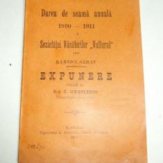"Statut- Soc. ""VANATORUL""-Rm.Sarat-1911 - Carte Editie princeps"