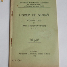 "Statut- Soc. ""Vanat ""VULTURUL""-Rm. Sarat-1912 - Carte Editie princeps"