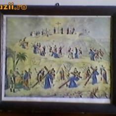 "LITOGRAFIE RELIGIOASA VECHE""DRUMUL CRUCII' - Icoana litografiate"