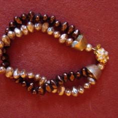 BRATARA DIN PERLE PE DOUA RANDURI - Bratara perle