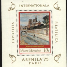 Romania 1975, PICTURA TH.PALADY, colita nestampilata, X4 - Timbre Romania