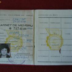 CARNET DE MEMBRU UNIUNEA GENERALA A SINDICATELOR 1981, Documente