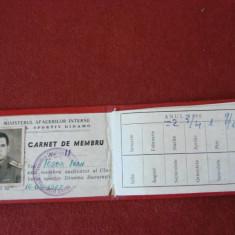 CARNET DE MEMBRU AMICII CLUBULUI DINAMO 1967, Documente