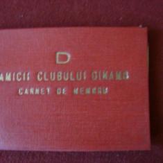 CARNET DE MEMBRU AMICII CLUBULUI DINAMO 1971, Documente