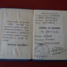 CARNET DE MEMBRU ORGANIZATIA DEMOCRATIEI SI UNITATII SOCIALISTE, Documente