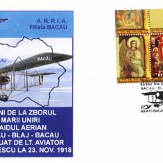 Plic avion Farman 40, zborul marii Uniri, Bacau-Blaj