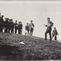 Fotografie URIASA carton 23x29 cm,aplicatia scolii de geniu 1936-vizita Comandantului Inspectoratului general al Geniului-Generalul Iorgulescu