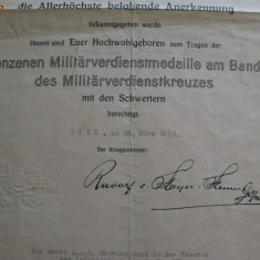 Brevet austriac Meritul Militar 1918 pt. un roman