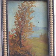 Peisaj cu copac, tablou vechi