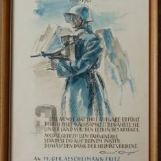 Certificat militar 1939 - 1945 , Elvetia , semnat de general Henry Guisan , din al doilea razboi mondial