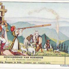 134 -LITHO - TROITA Femeie cantand la tulnic si cioban cu oile