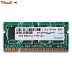APACER 2GB DDR2 800 SOD PC2-6400 CL6 MEMORIE RAM - Memorie RAM laptop Apacer, 800 mhz