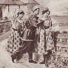 Romania? carte postala austriaca UPU circulata 1902: Costume populare rusesti?