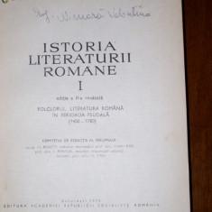 Istoria Literaturii Romane-Edit.Academiei Vol.1. - Studiu literar