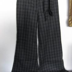 Pantaloni dama fete stofa carouri, Lungi, Lana