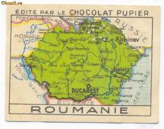 1405 - Harta ROMANIA MARE, Cernauti, Pitesti, Chisinau - old mini postcard 1927 foto