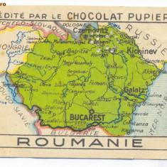 1405 - Harta ROMANIA MARE, Cernauti, Pitesti, Chisinau - old mini postcard 1927 - Harta Romaniei