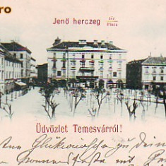 Ro-0587- Ro, Salut. Timisoara, c.p. Litho circ. 1899: Pta. Printul Eugen, Circulata, Fotografie