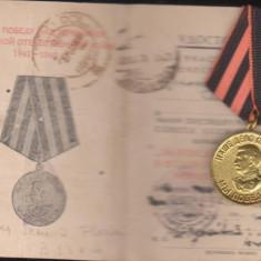 Brevet + medalia Victoria al 2 razboi,subofiter roman
