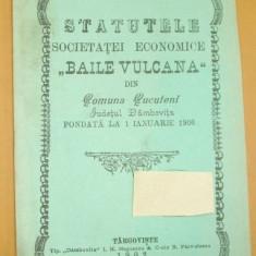 Statut-Soc. BAILE VULCANA-Cucuteni-Dambovita-1902