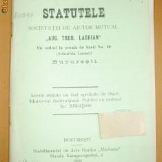 "Statut Soc. ajutor,, A.T. LAURIAN"" Buc. 1908 - Carte Editie princeps"