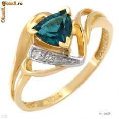 Nice [Inel] Ring With Diamonds and Cr.Emerald - Inel aur, 46 - 56
