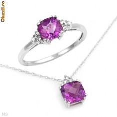 Set aur alb 14K cu diamante si ametiste naturale 1, 91CT superb - Set bijuterii aur alb