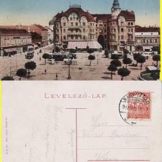 Piata Sf.Laszlo - Oradea - tramvai - rara - Carte Postala Crisana pana la 1904