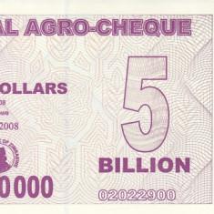 Bancnota Zimbabwe (Agro Cheque) 5.000.000.000 Dolari 2008 - P61 UNC