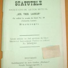 "Statute Soc. ajutor,, A.T. Laurian"" Buc. 1908 - Carte Editie princeps"