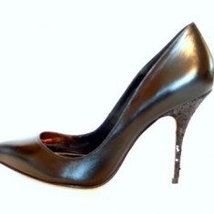 ULTRAELEGANTI - Pantofi negri toc fin(11329-518 GLITTER BLACK)BUFFALO - Pantof dama Buffalo, Culoare: Negru, Marime: 41, Piele naturala