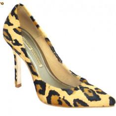 Pantofi Buffalo, aspect tigru, (6866-301 BIG TIGRE) - Pantof dama Buffalo, Culoare: Maro, Marime: 41, Piele naturala, Cu toc