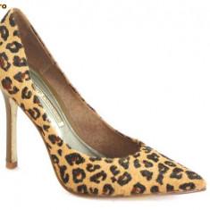 Pantofi Buffalo, aspect tigru, piele ponei, (6866-301 TIGRE) - Pantof dama Buffalo, Culoare: Maro, Marime: 39, 40, 41, Piele naturala