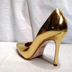 Pantofi piele, auri - Buffalo (6866-301 MIROR GOLD) - Pantof dama Buffalo, Culoare: Auriu, Marime: 39, Piele naturala