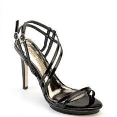 SUBLIME ! Sandale negre , lac , barete fine   BUFFALO (8505-380 PATENT), 36, 38 - 41, Negru, Piele naturala