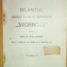 "Raport Soc. slavona inmormantare,, Svornost"" Buc. 1912 - Carte Editie princeps"