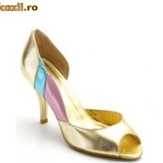Sandale -auriu cu roz si verde (107-12185) BUFFALO - Sandale dama Buffalo, Marime: 39, 40, 41, Piele naturala