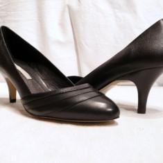 Pantofi negri, comozi Buffalo, piele, (107-12929 BLACK) - Pantof dama Buffalo, Culoare: Negru, Marime: 38, 39, Piele naturala