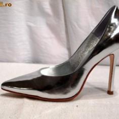 Pantofi piele, arginti - Buffalo (6866-301 MIRROR SILVER) - Pantof dama Buffalo, Culoare: Argintiu, Marime: 37, 39, 40, 41, Piele naturala