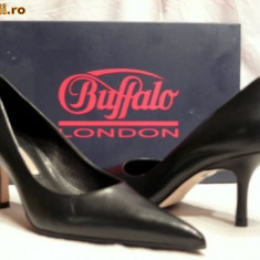 Pantofi piele, foarte comozi, Buffalo (781-62 NAPPA BLACK) - Pantof dama Buffalo, Culoare: Negru, Marime: 36, 37, 38, 39, 40, Piele naturala