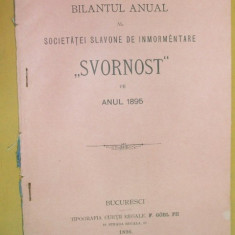 "Bilant Soc. slavona inmormantare,, Svornost"" Buc. 1896 - Carte Editie princeps"