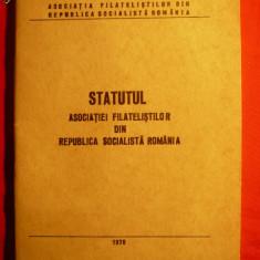 Statutul Asociatiei Filatelistilor din RSR -1978, cu autograf