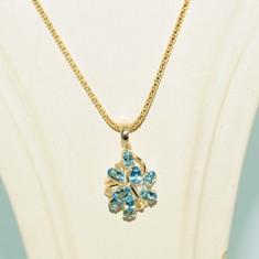 Deosebit colier aur galben 14K cu pandantiv blue topaz 2, 53CT