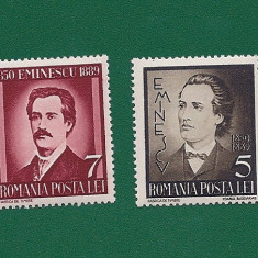 ROMANIA-50 ANI MOARTE EMINESCU-NESTAMPILATA-LP 130-2 VAL. - Timbre Romania