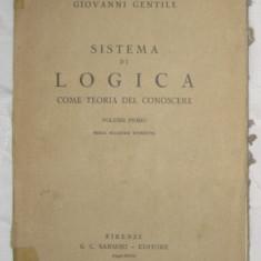 G Gentile Sistema di logica come teoria del conoscere vol I - Carte Filosofie