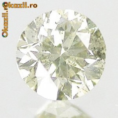 >>> DIAMANT NATURAL GALBEN GRI-0,19ct- ~3,5 mm certificat, Briliant