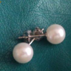 Cercei aur alb 14K cu perle naturale tip stud foarte finuti